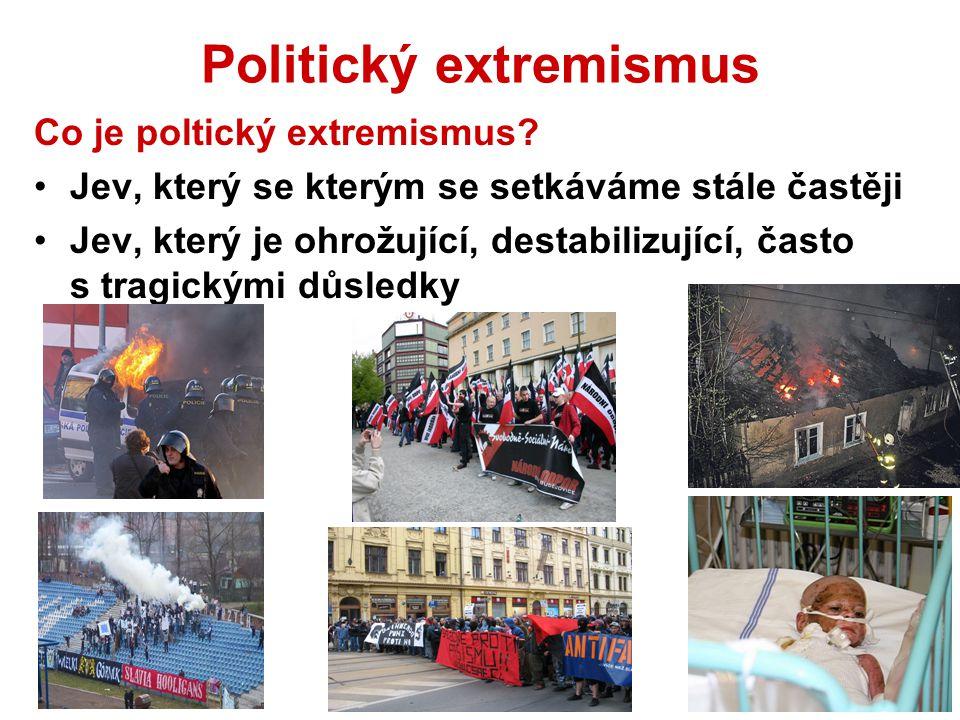 Politický extremismus Co je poltický extremismus? Jev, který se kterým se setkáváme stále častěji Jev, který je ohrožující, destabilizující, často s t