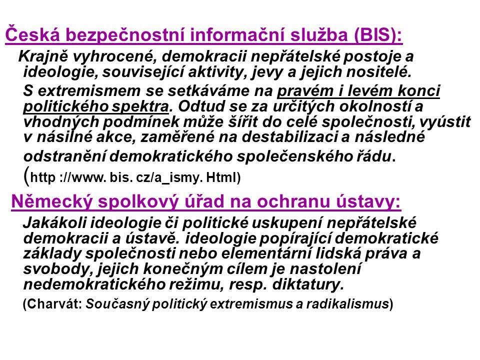 Česká bezpečnostní informační služba (BIS): Krajně vyhrocené, demokracii nepřátelské postoje a ideologie, související aktivity, jevy a jejich nositelé.