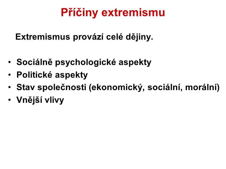 Příčiny extremismu Extremismus provází celé dějiny. Sociálně psychologické aspekty Politické aspekty Stav společnosti (ekonomický, sociální, morální)