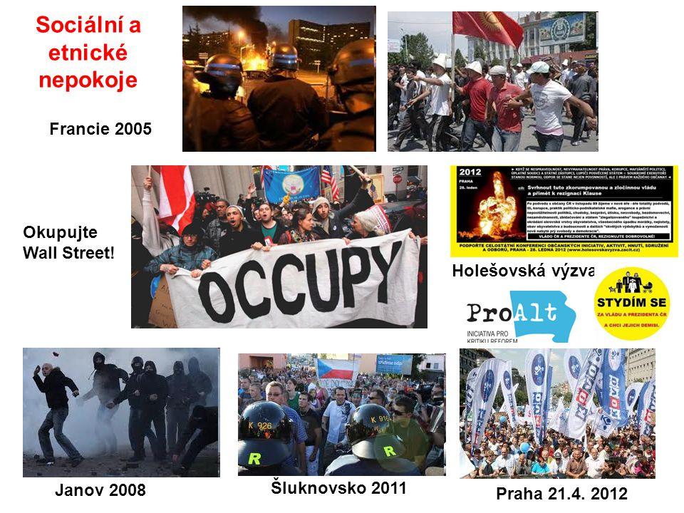 Sociální a etnické nepokoje Okupujte Wall Street! Francie 2005 Janov 2008 Šluknovsko 2011 Holešovská výzva Praha 21.4. 2012