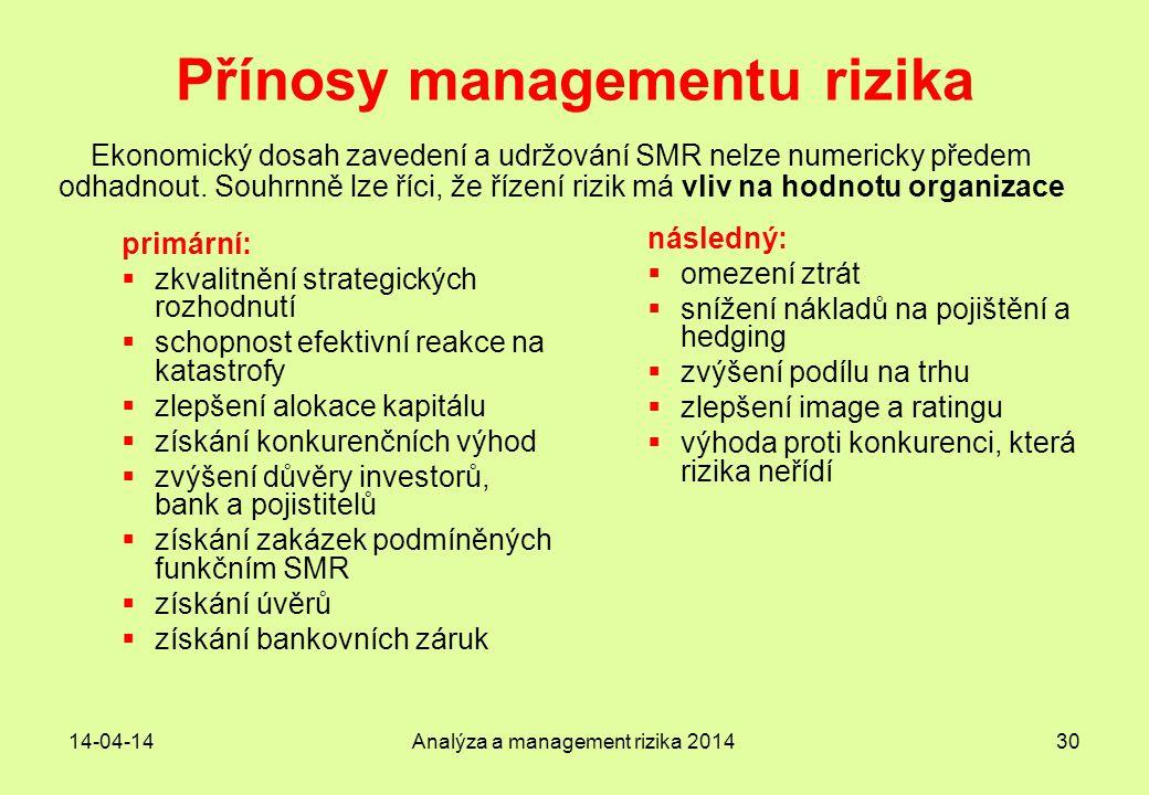 14-04-14Analýza a management rizika 201430 Přínosy managementu rizika primární:  zkvalitnění strategických rozhodnutí  schopnost efektivní reakce na