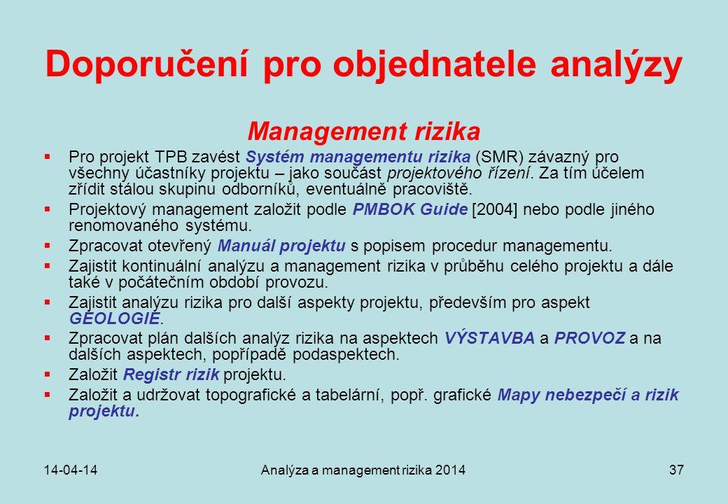 14-04-14Analýza a management rizika 201437 Doporučení pro objednatele analýzy Management rizika  Pro projekt TPB zavést Systém managementu rizika (SM