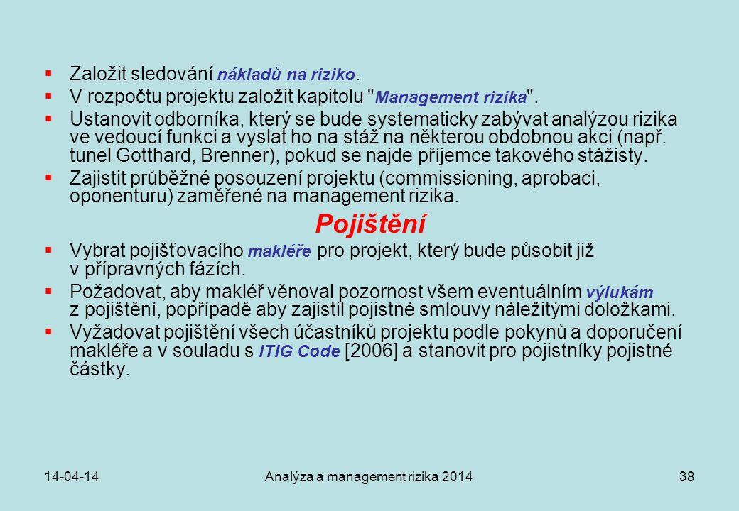 14-04-14Analýza a management rizika 201438  Založit sledování nákladů na riziko.  V rozpočtu projektu založit kapitolu