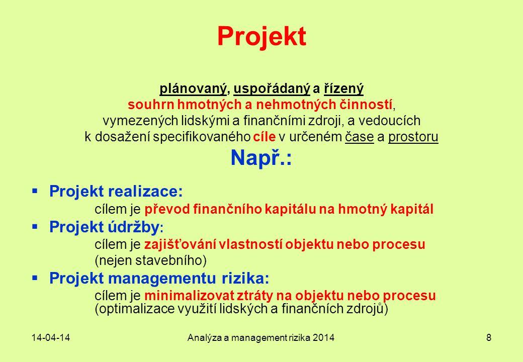 14-04-14Analýza a management rizika 20148 Projekt plánovaný, uspořádaný a řízený souhrn hmotných a nehmotných činností, vymezených lidskými a finanční