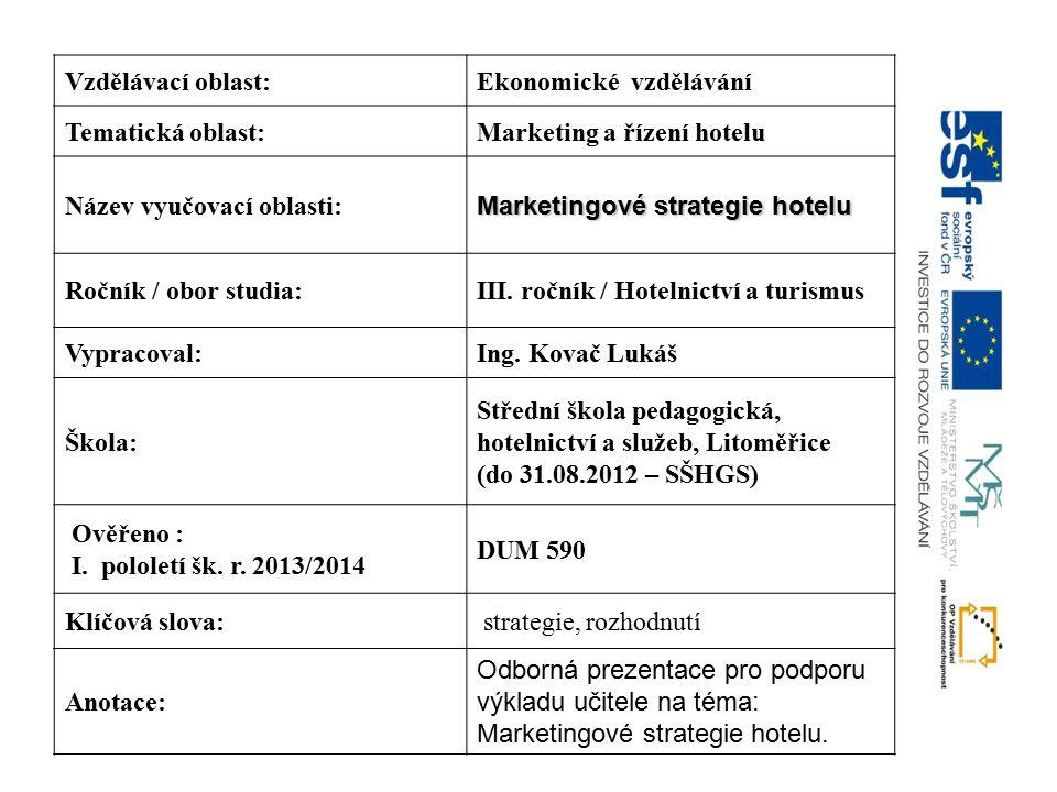 Vzdělávací oblast:Ekonomické vzdělávání Tematická oblast:Marketing a řízení hotelu Název vyučovací oblasti: Marketingové strategie hotelu Ročník / obo