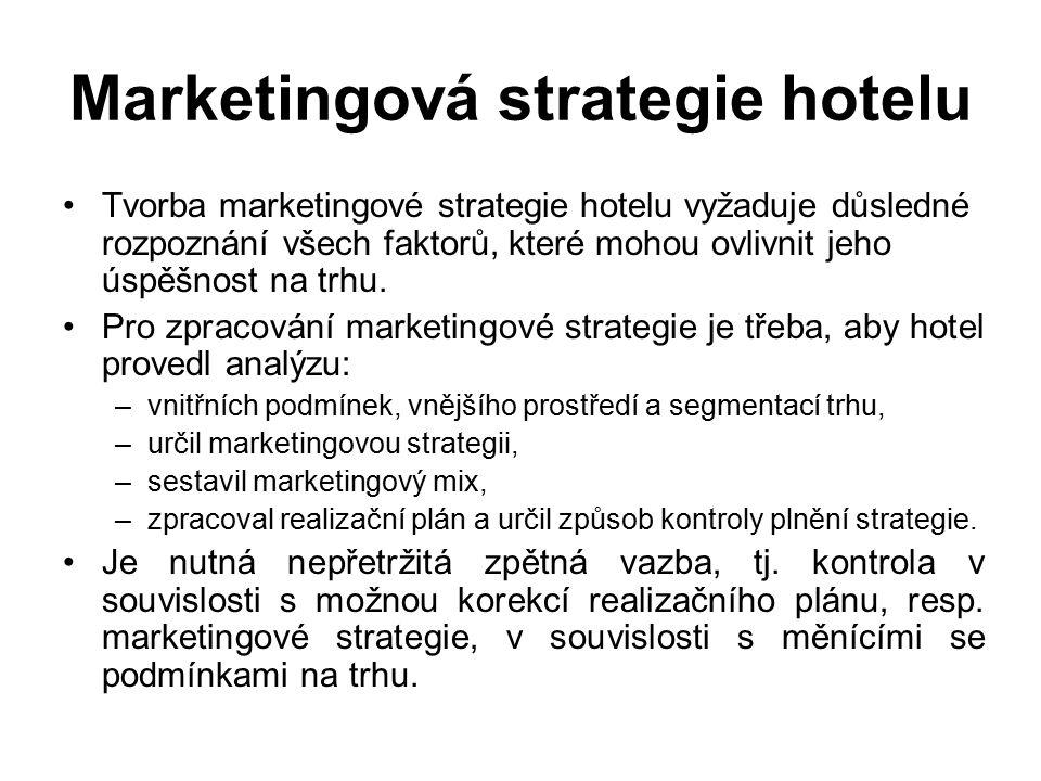 Marketingová strategie hotelu Tvorba marketingové strategie hotelu vyžaduje důsledné rozpoznání všech faktorů, které mohou ovlivnit jeho úspěšnost na