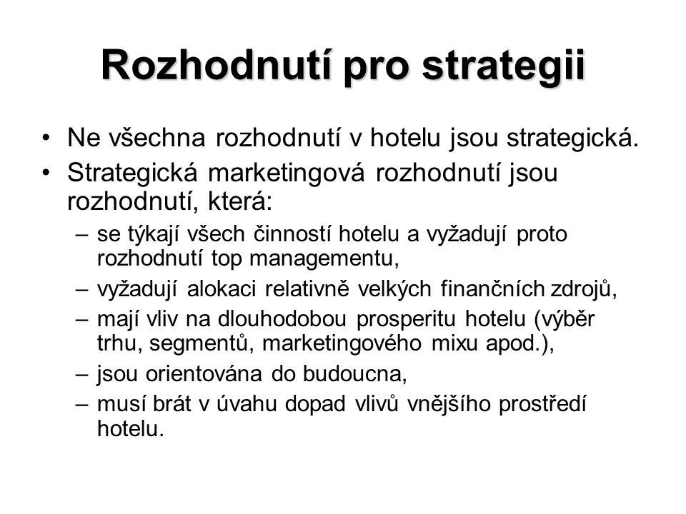 Rozhodnutí pro strategii Ne všechna rozhodnutí v hotelu jsou strategická. Strategická marketingová rozhodnutí jsou rozhodnutí, která: –se týkají všech