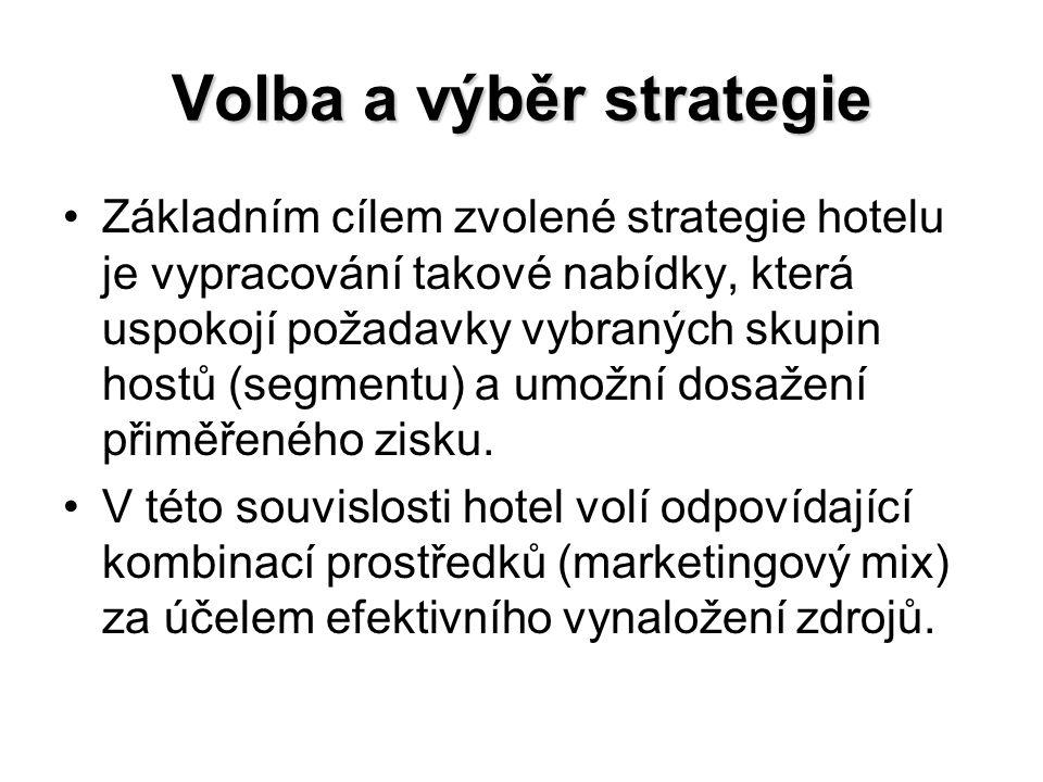 Volba a výběr strategie Základním cílem zvolené strategie hotelu je vypracování takové nabídky, která uspokojí požadavky vybraných skupin hostů (segme
