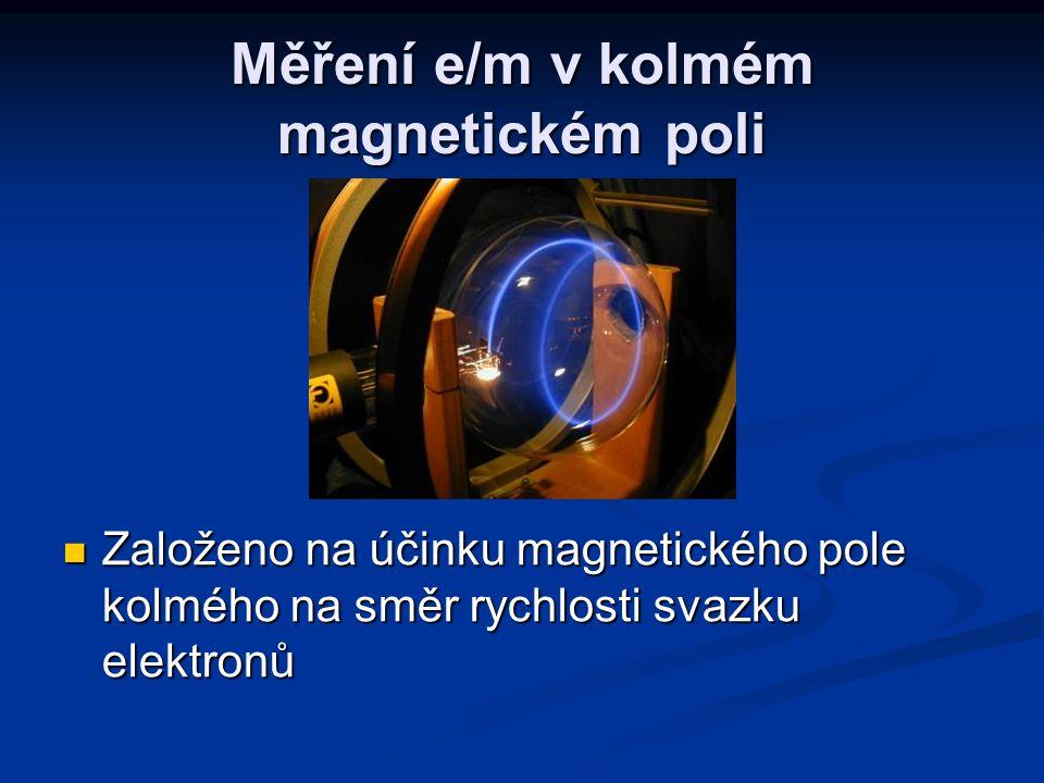Měření e/m v kolmém magnetickém poli Založeno na účinku magnetického pole kolmého na směr rychlosti svazku elektronů Založeno na účinku magnetického pole kolmého na směr rychlosti svazku elektronů