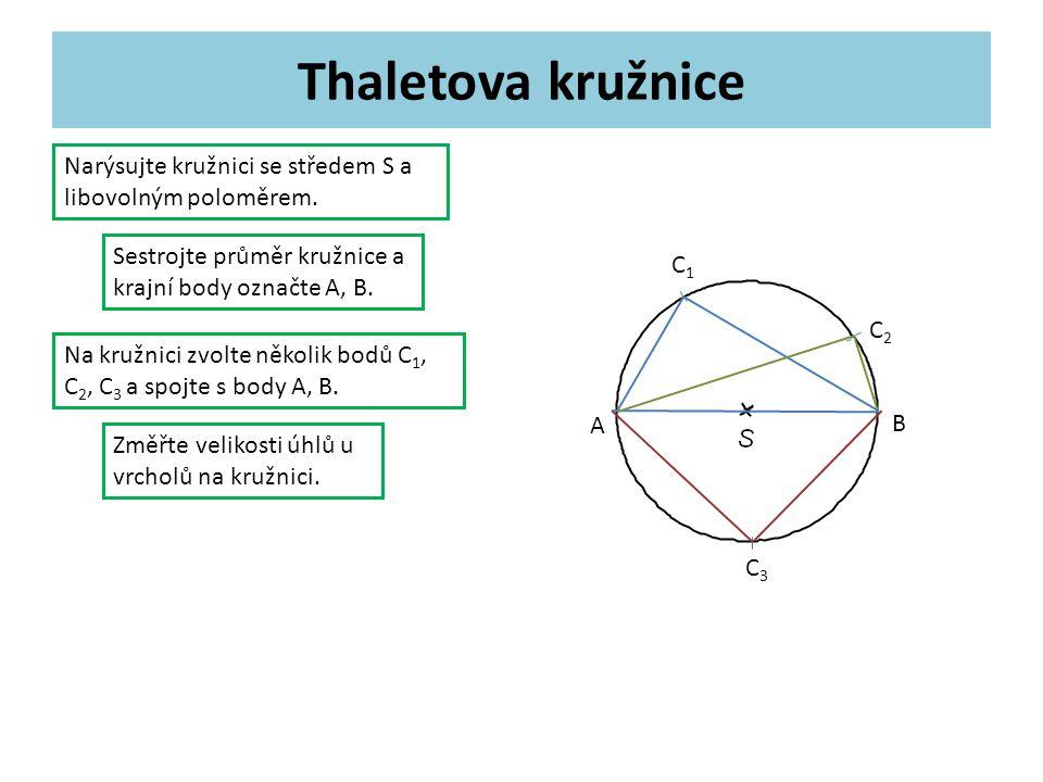 Thaletova kružnice Narýsujte kružnici se středem S a libovolným poloměrem.