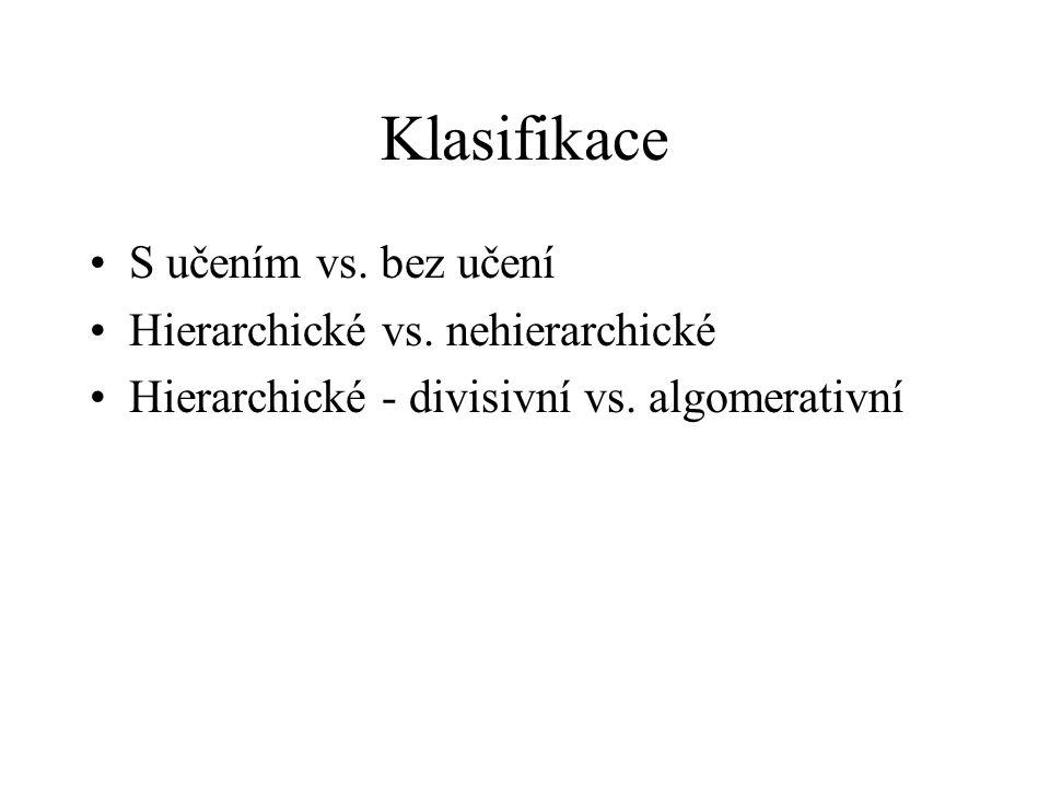 Klasifikace S učením vs. bez učení Hierarchické vs. nehierarchické Hierarchické - divisivní vs. algomerativní