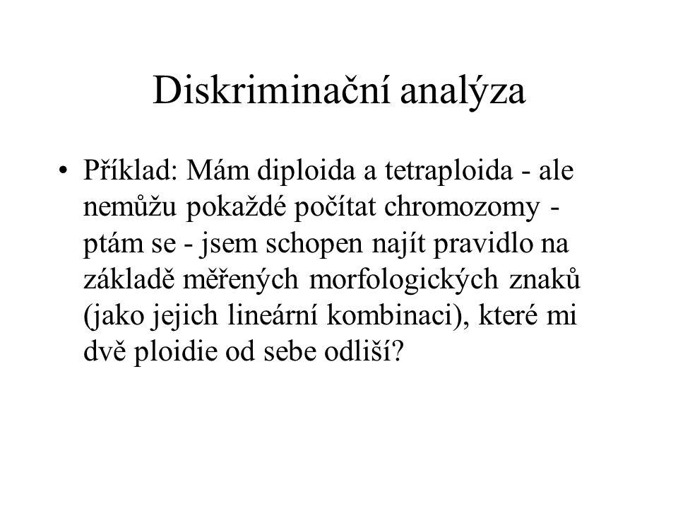 Diskriminační analýza Příklad: Mám diploida a tetraploida - ale nemůžu pokaždé počítat chromozomy - ptám se - jsem schopen najít pravidlo na základě m