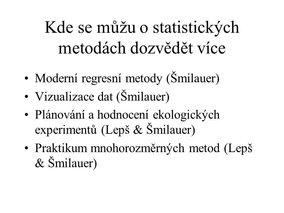 Kde se můžu o statistických metodách dozvědět více Moderní regresní metody (Šmilauer) Vizualizace dat (Šmilauer) Plánování a hodnocení ekologických ex
