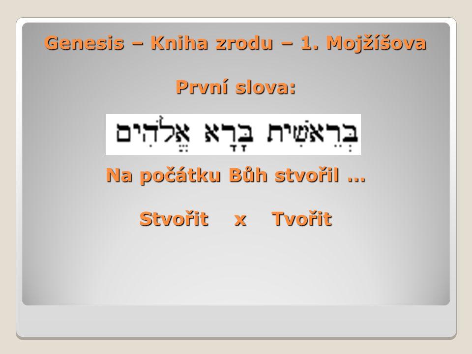 Genesis – Kniha zrodu – 1. Mojžíšova První slova: Na počátku Bůh stvořil … Stvořit x Tvořit