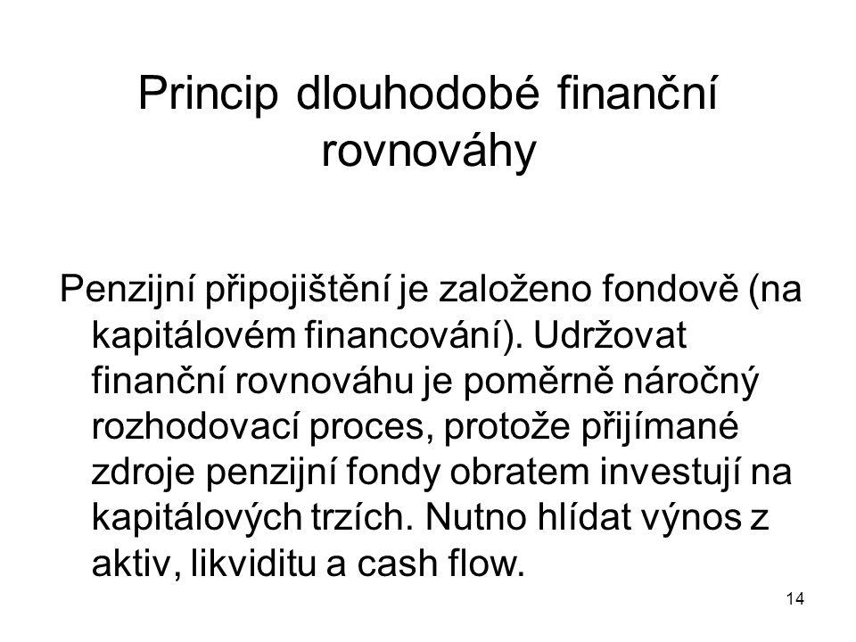 14 Princip dlouhodobé finanční rovnováhy Penzijní připojištění je založeno fondově (na kapitálovém financování).