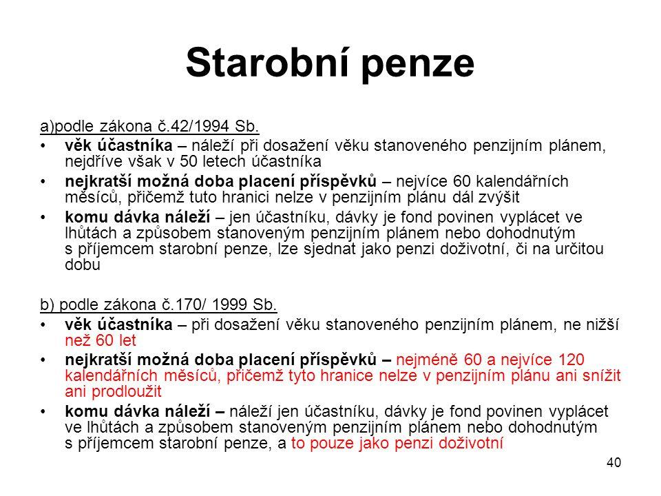 40 Starobní penze a)podle zákona č.42/1994 Sb.