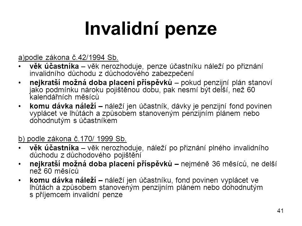 41 Invalidní penze a)podle zákona č.42/1994 Sb.