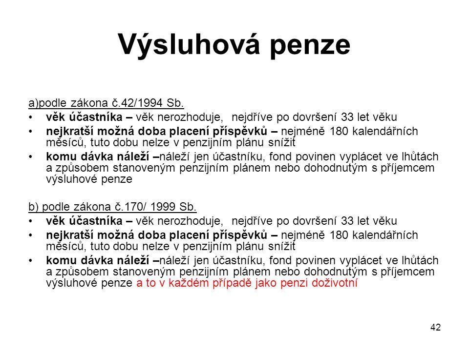 42 Výsluhová penze a)podle zákona č.42/1994 Sb.