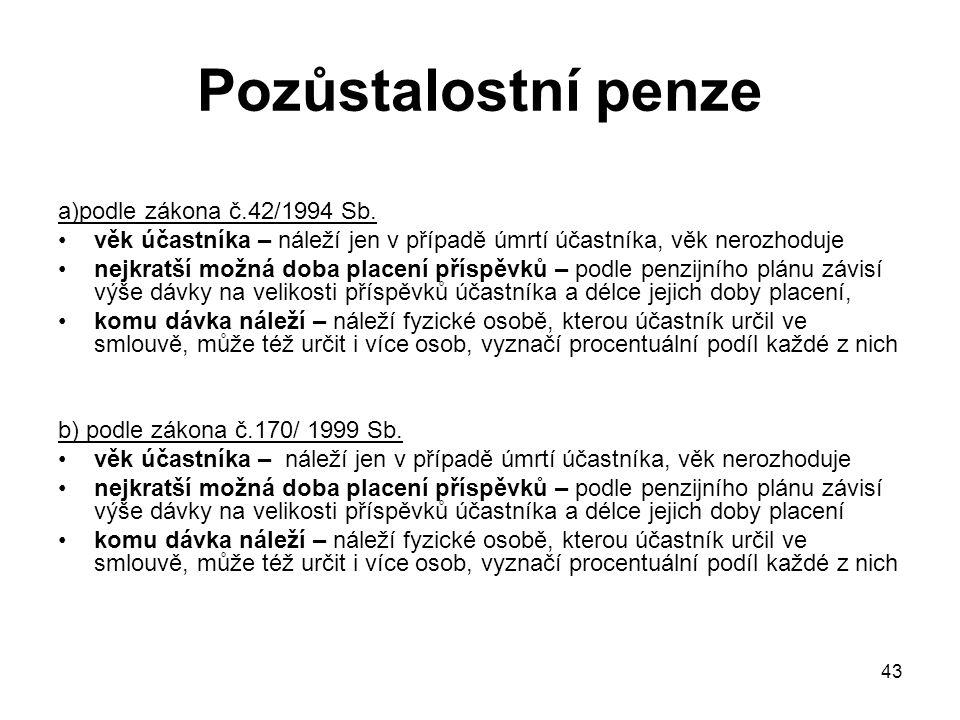 43 Pozůstalostní penze a)podle zákona č.42/1994 Sb.