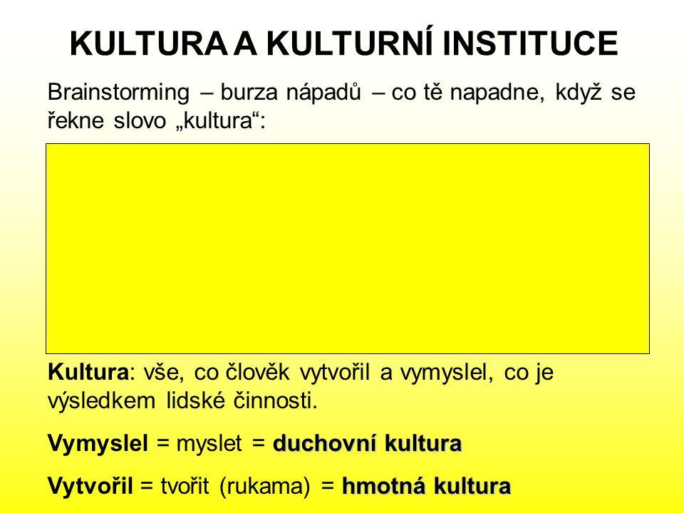 KULTURA A KULTURNÍ INSTITUCE Kultura: vše, co člověk vytvořil a vymyslel, co je výsledkem lidské činnosti. duchovní kultura Vymyslel = myslet = duchov