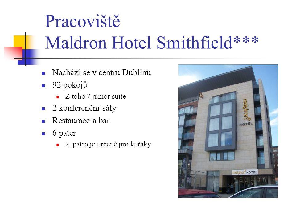 Pracoviště Maldron Hotel Smithfield*** Nachází se v centru Dublinu 92 pokojů Z toho 7 junior suite 2 konferenční sály Restaurace a bar 6 pater 2. patr