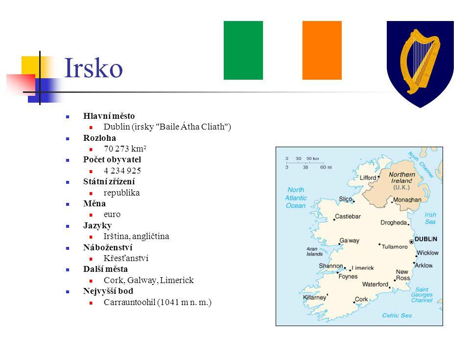 Zajímavosti Irsku se přezdívá smaragdový nebo zelený ostrov Zabírá 5/6 ostrova Irsko (1/6 Severní Irsko, součást Velké Británie) Keltové zde zanechali velké kamenné kříže a ornamentální rytiny Na ostrově se nevyskytují hadi Průměrně zde proprší 271 dní Guinnessova kniha rekordů – vymyslel ji ředitel pivovaru Guinness Sir Hugh Beaver jako příručku pro rozsuzování hospodských pří o tom, kdo je nejrychlejší, největší a podobně Známá je typická irská hudba a tanec U2, Enya, Sinéad 0 Connor, Oscar Wilde, Jonathan Swift