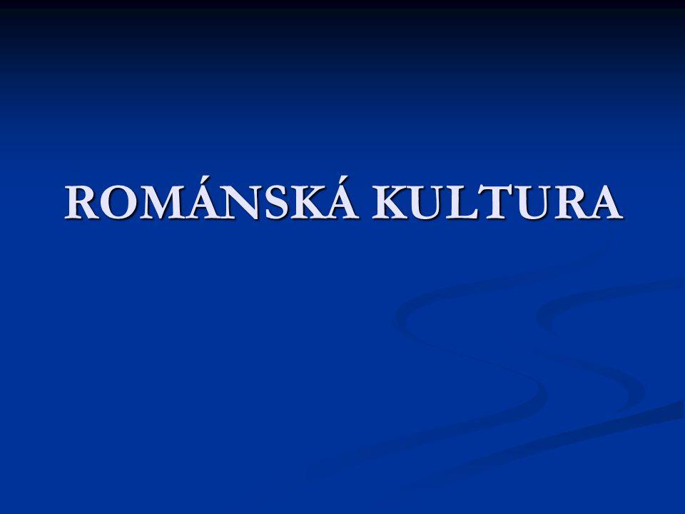z latinského romanus = římský  snaha napodobit starověkou římskou říši z latinského romanus = římský  snaha napodobit starověkou římskou říši přibližně v letech 900 – 1200 přibližně v letech 900 – 1200 projevuje se v: písemnictví, sochařství, malířství, hudbě, architektuře i vzdělanosti projevuje se v: písemnictví, sochařství, malířství, hudbě, architektuře i vzdělanosti