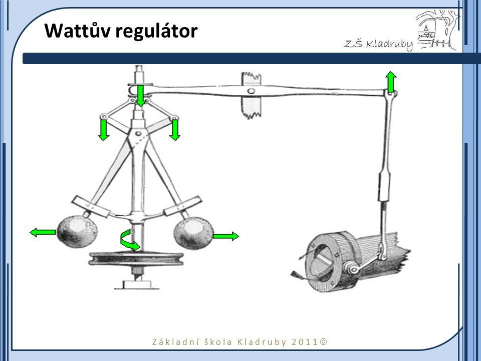 Základní škola Kladruby 2011  Wattův regulátor Watt je vynálezcem technického zařízení, které vhodným způsobem přivírá nebo otvírá např. ventil. Dvě