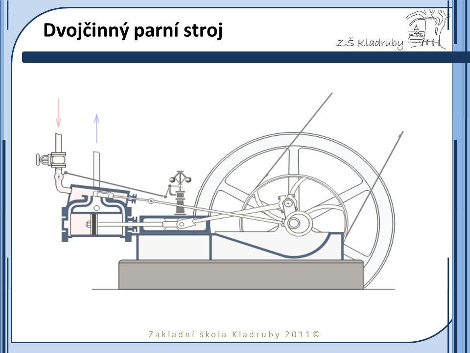 Základní škola Kladruby 2011  Dvojčinný parní stroj je takový parní stroj, u něhož pára koná práci na obou stranách pístu. Pomocí šoupátka je tlaková