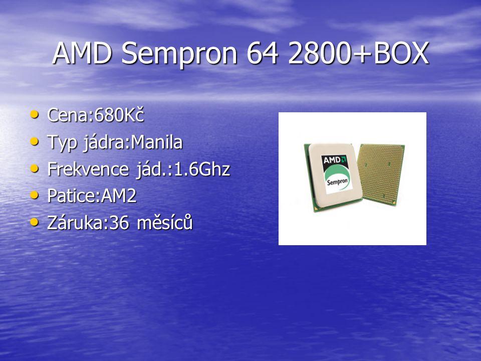 AMD Athlon 64 X2 6400+Black Box Cena:5 360Kč Typ jádra:Windsor Frekvence jád.:3.2Ghz Patice:AM2 Záruka:36 měsíců