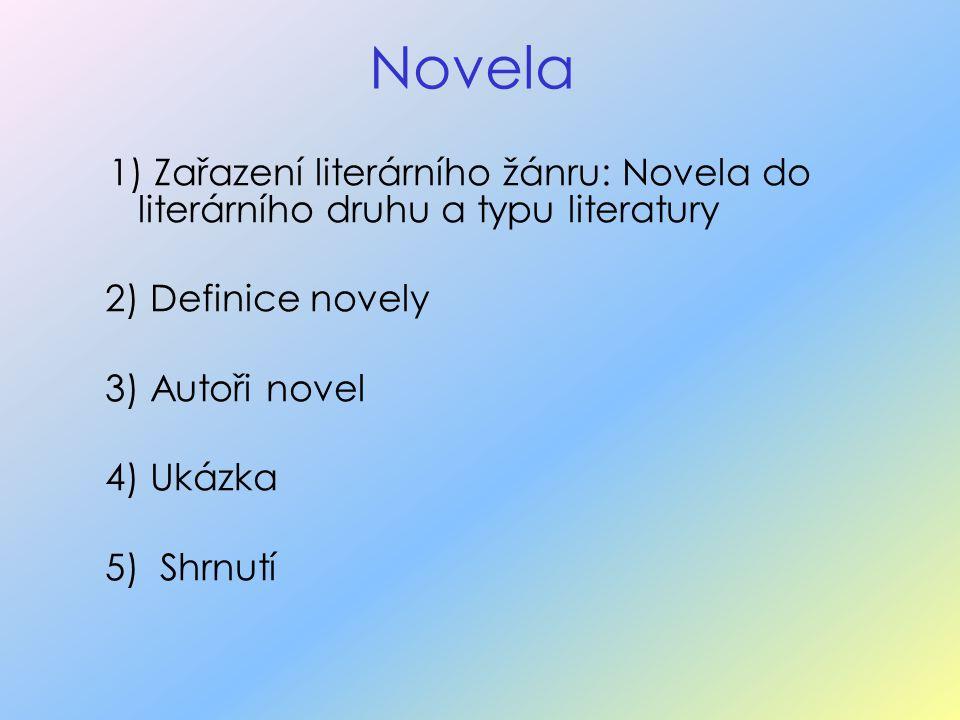 Novela 1) Zařazení literárního žánru: Novela do literárního druhu a typu literatury 2) Definice novely 3) Autoři novel 4) Ukázka 5) Shrnutí