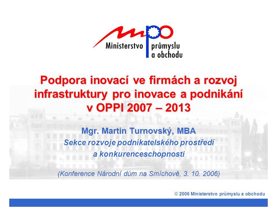 © 2006 Ministerstvo průmyslu a obchodu Podpora inovacích ve firmách Program Využití ICT v podnicích Podporované aktivity: Zavádění a rozšiřování využívání informačních systémů (IS) při zvyšování vnitřní efektivity,vývoji nových výrobků, zvyšování efektivity dodavatelsko-odběratelských vztahů; Rozvoj a zdokonalování technické infrastruktury; Zavádění a rozšiřování outsorcingu IS.Příklady: Náklady na implementaci manažerských, znalostních systémů, CRM, ERM; Náklady na zavedení paperless office; Náklady na napojení do externích a subdodavatelských sítí a klastrů; Náklady na kvalitativní zvýšení zabezpečení IS; Náklady na zavedení outsorcingu informačního systému ERM Příjemci: Malý a střední podnik či sdružení podnikatelů (klastry) ve zpracovatelském průmyslu Výše podpory: Max.