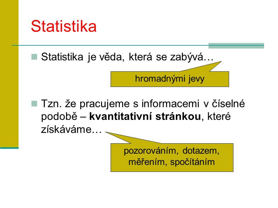 Statistika Statistika je věda, která se zabývá… Tzn.