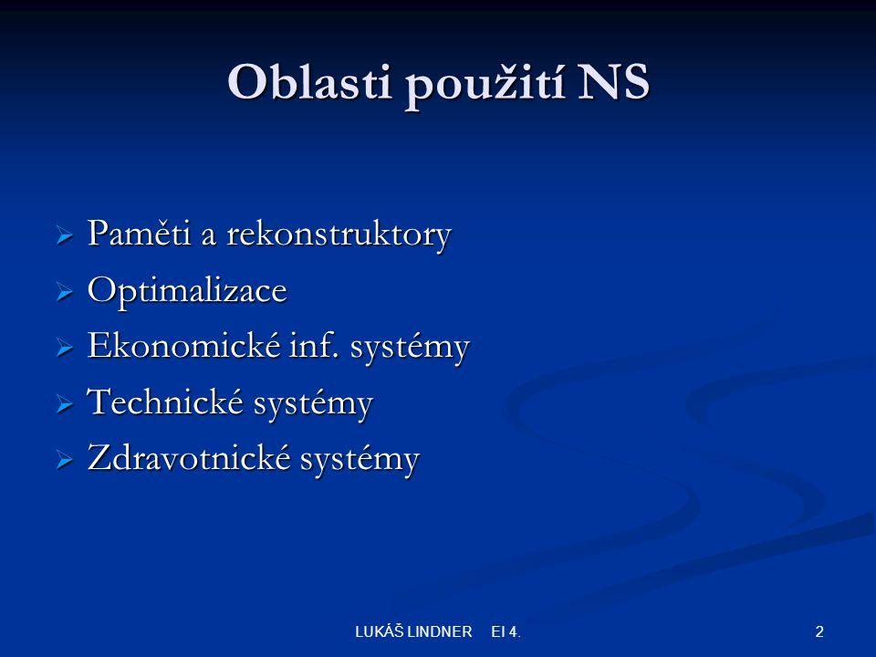 2LUKÁŠ LINDNER EI 4. Oblasti použití NS  Paměti a rekonstruktory  Optimalizace  Ekonomické inf.