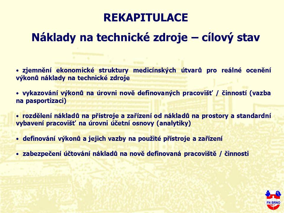 REKAPITULACE Náklady na technické zdroje – cílový stav zjemnění ekonomické struktury medicínských útvarů pro reálné ocenění výkonů náklady na technick