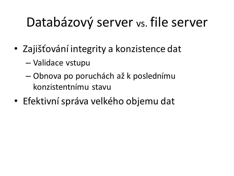Databázový server vs. file server Zajišťování integrity a konzistence dat – Validace vstupu – Obnova po poruchách až k poslednímu konzistentnímu stavu