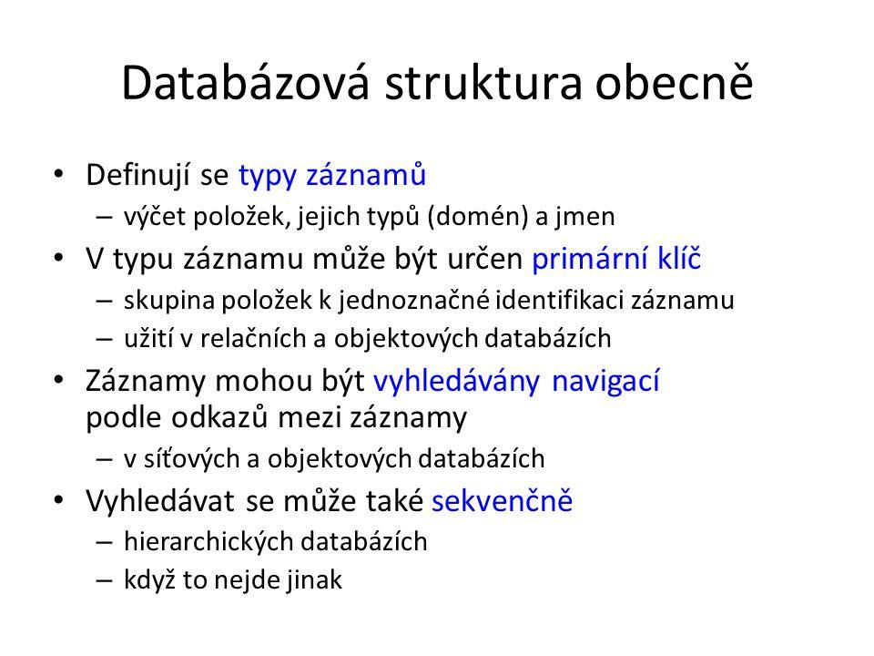 Databázová struktura obecně Definují se typy záznamů – výčet položek, jejich typů (domén) a jmen V typu záznamu může být určen primární klíč – skupina