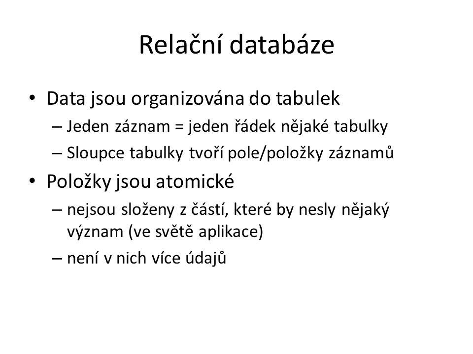 Relační databáze Data jsou organizována do tabulek – Jeden záznam = jeden řádek nějaké tabulky – Sloupce tabulky tvoří pole/položky záznamů Položky js