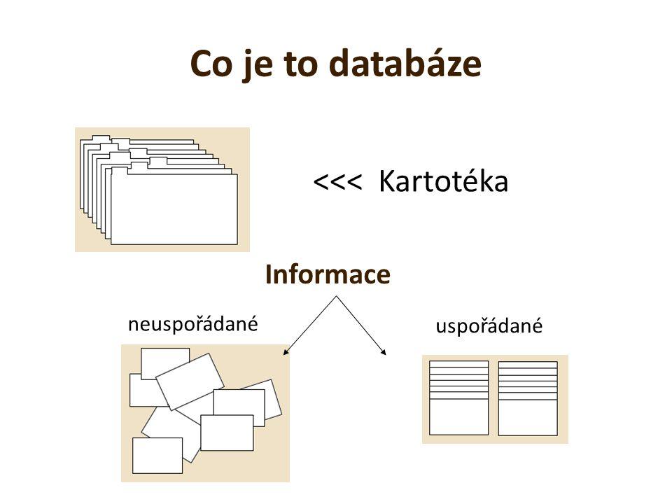 Co je to databáze <<< Kartotéka Informace uspořádané neuspořádané