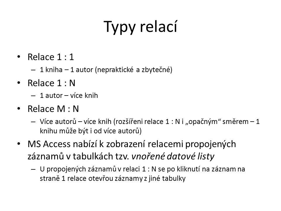 Typy relací Relace 1 : 1 – 1 kniha – 1 autor (nepraktické a zbytečné) Relace 1 : N – 1 autor – více knih Relace M : N – Více autorů – více knih (rozší