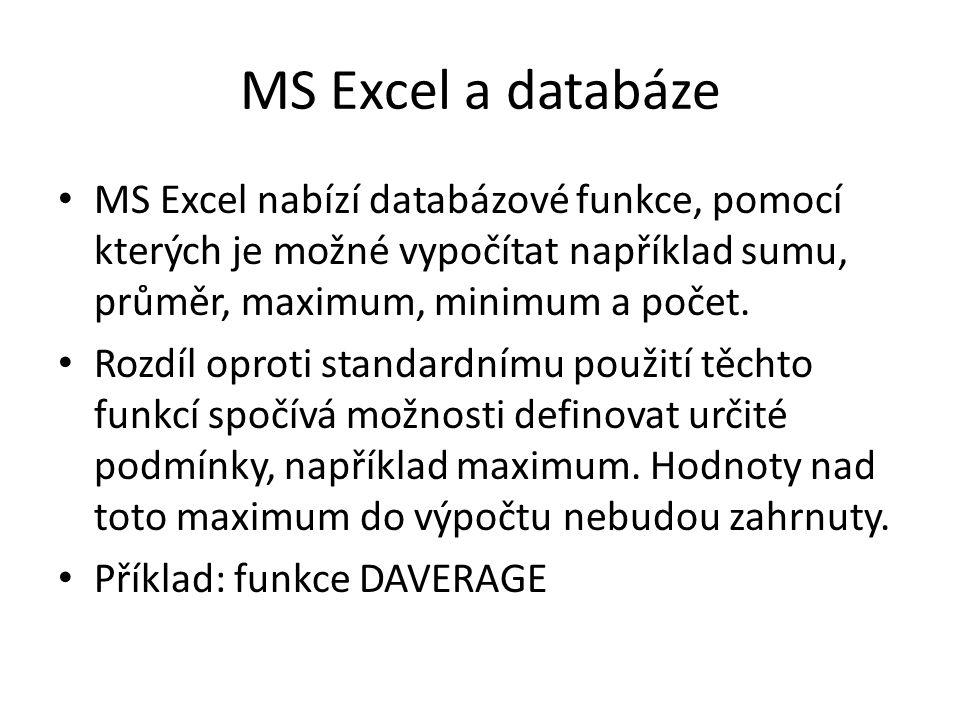 MS Excel a databáze MS Excel nabízí databázové funkce, pomocí kterých je možné vypočítat například sumu, průměr, maximum, minimum a počet. Rozdíl opro