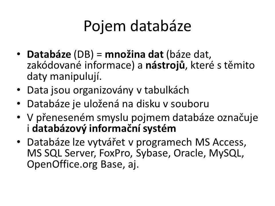 Pojem databáze Databáze (DB) = množina dat (báze dat, zakódované informace) a nástrojů, které s těmito daty manipulují. Data jsou organizovány v tabul