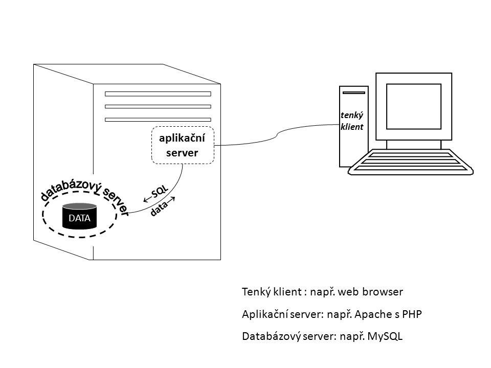 DATA  SQL data  tenký klient aplikační server Tenký klient : např. web browser Aplikační server: např. Apache s PHP Databázový server: např. MySQL