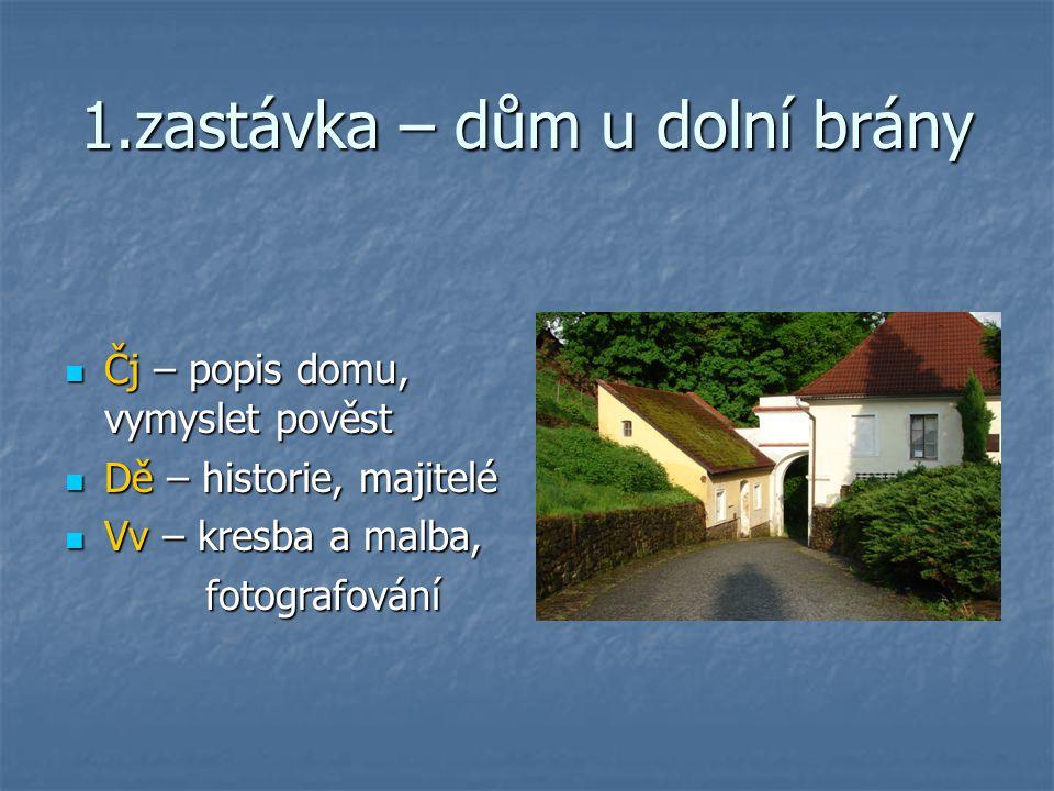 1.zastávka – dům u dolní brány Čj – popis domu, vymyslet pověst Čj – popis domu, vymyslet pověst Dě – historie, majitelé Dě – historie, majitelé Vv –