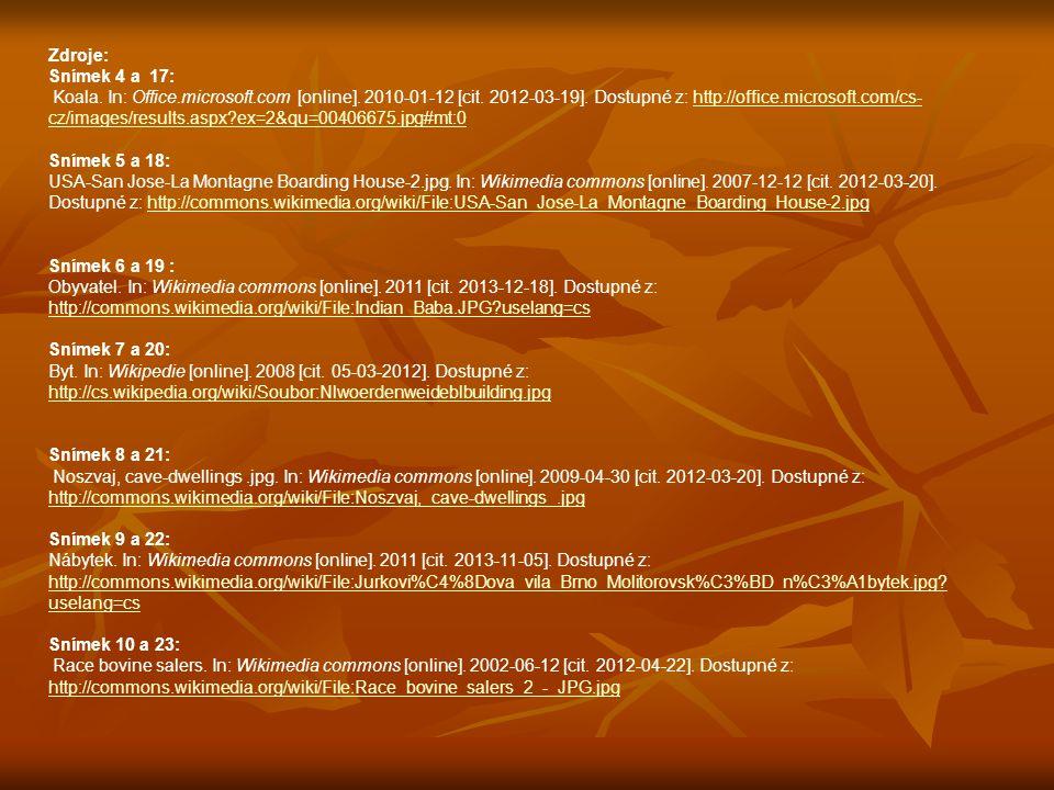 Zdroje: Snímek 4 a 17: Koala. In: Office.microsoft.com [online].