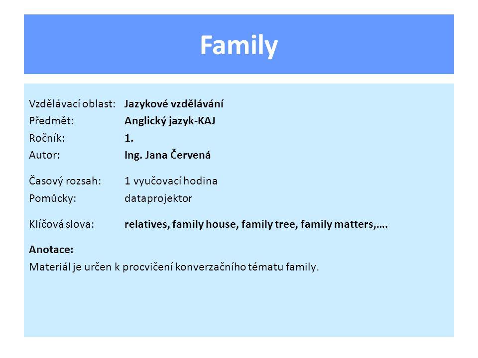 Family Vzdělávací oblast:Jazykové vzdělávání Předmět:Anglický jazyk-KAJ Ročník:1.