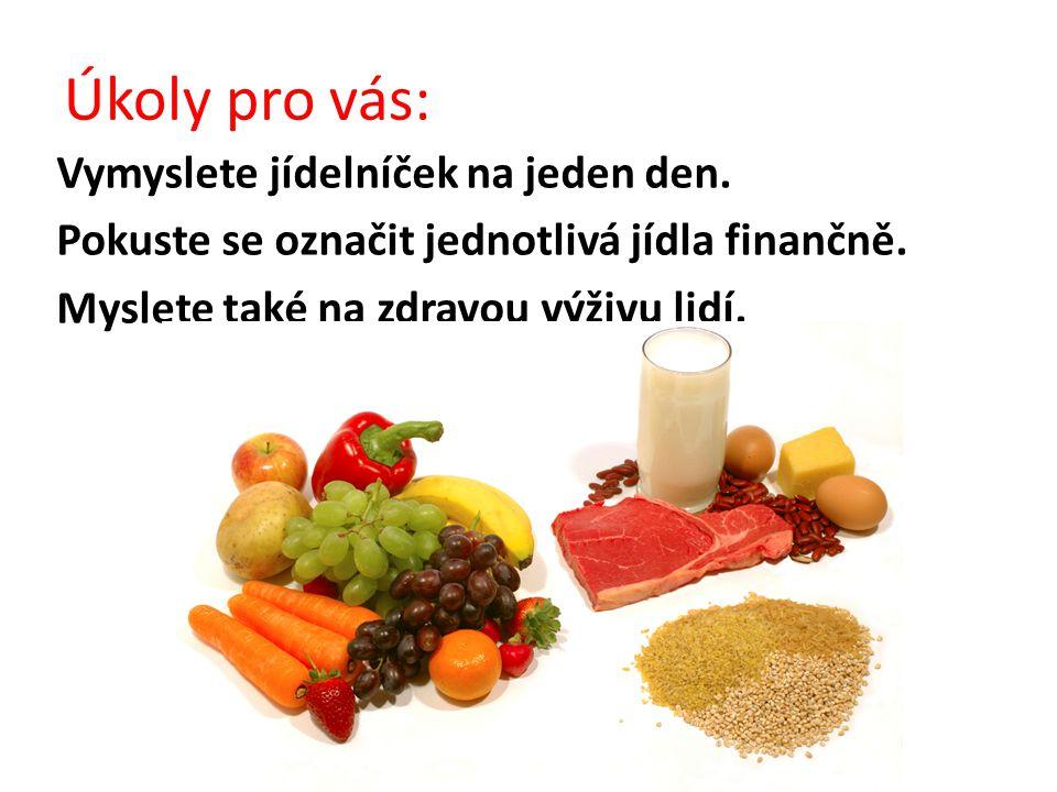 Úkoly pro vás: Vymyslete jídelníček na jeden den. Pokuste se označit jednotlivá jídla finančně.