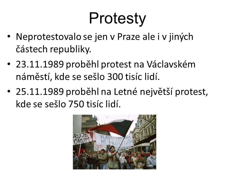 Protesty Neprotestovalo se jen v Praze ale i v jiných částech republiky. 23.11.1989 proběhl protest na Václavském náměstí, kde se sešlo 300 tisíc lidí