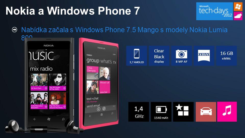 Nabídka začala s Windows Phone 7.5 Mango s modely Nokia Lumia 800 Nokia a Windows Phone 7 Clear Black display 16 GB eMMc 3,7 AMOLED 8 MP AF 1,4 GHz 15