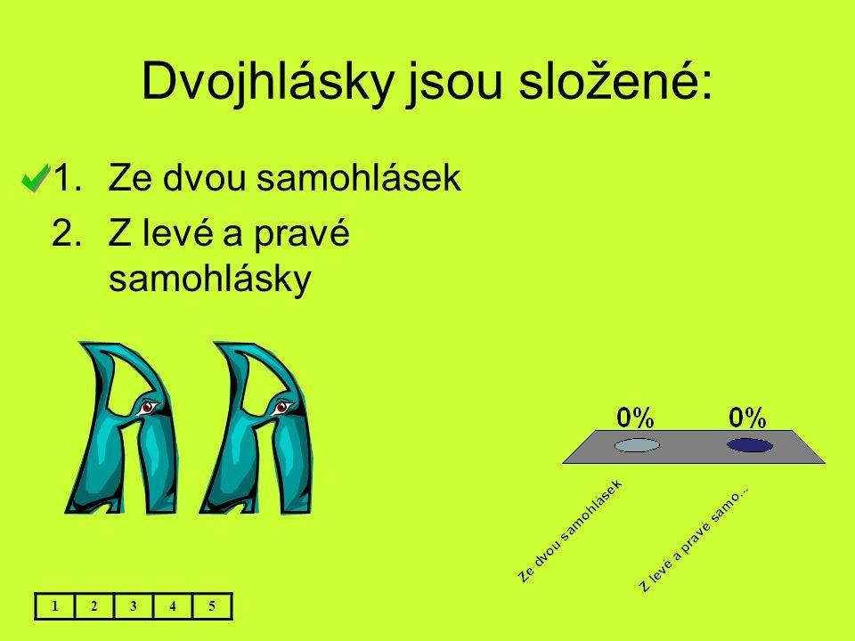 Dvojhlásky jsou složené: 12345 1.Ze dvou samohlásek 2.Z levé a pravé samohlásky